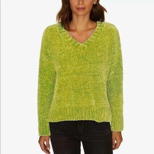 Sanctuary Chenille V-Neck Sweater in Acid Green